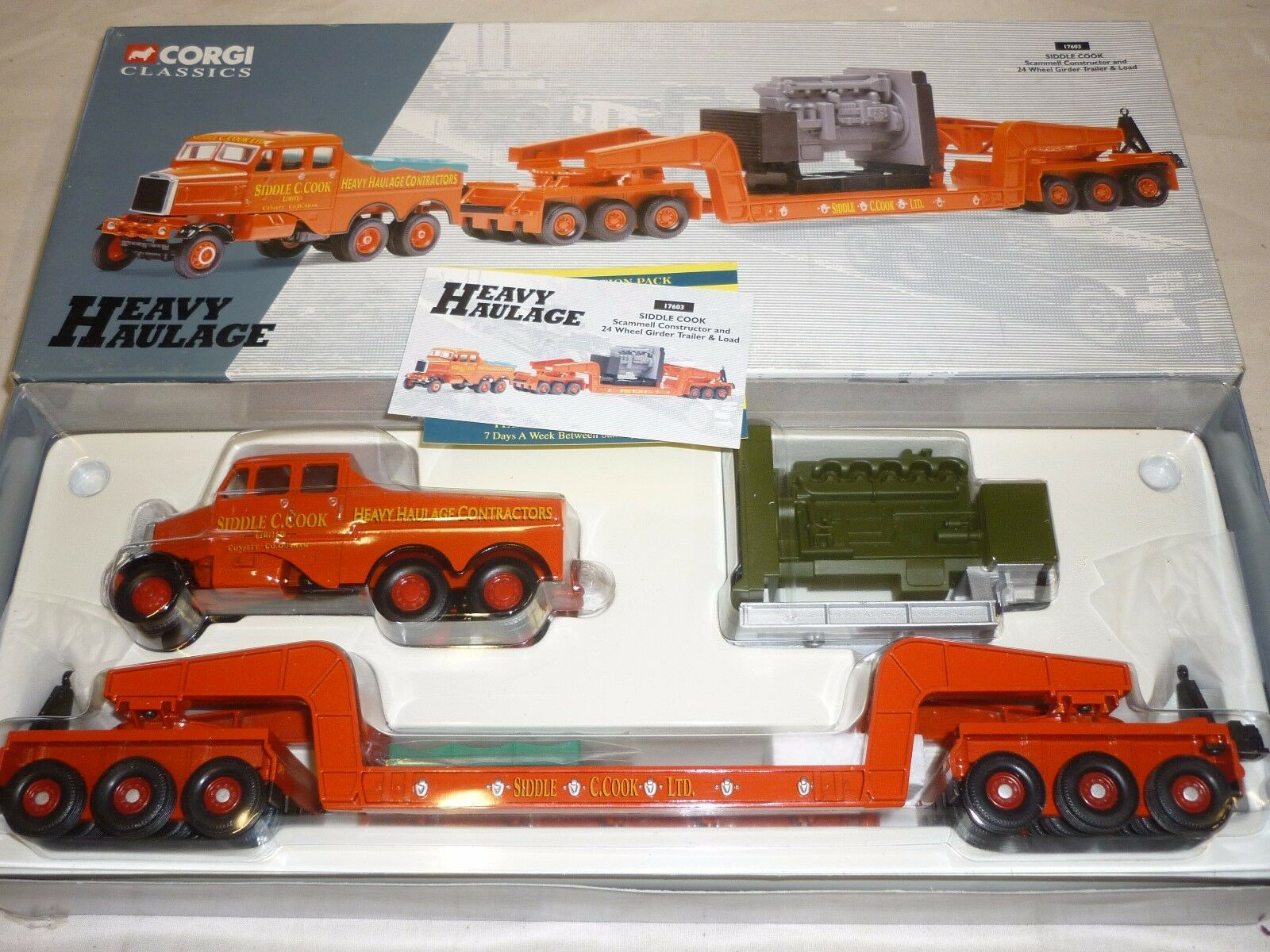 CORGI, CC 17603, Scammell Constructor & 24 roue Low Loader Siddle Cook.