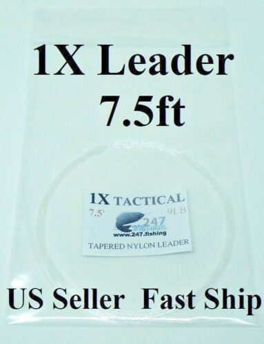 7.5ft Tactical 1X Fly Fishing Leader 9Lb Dry//Wet//Nymph//Tippet Ring Rig FREE SHIP