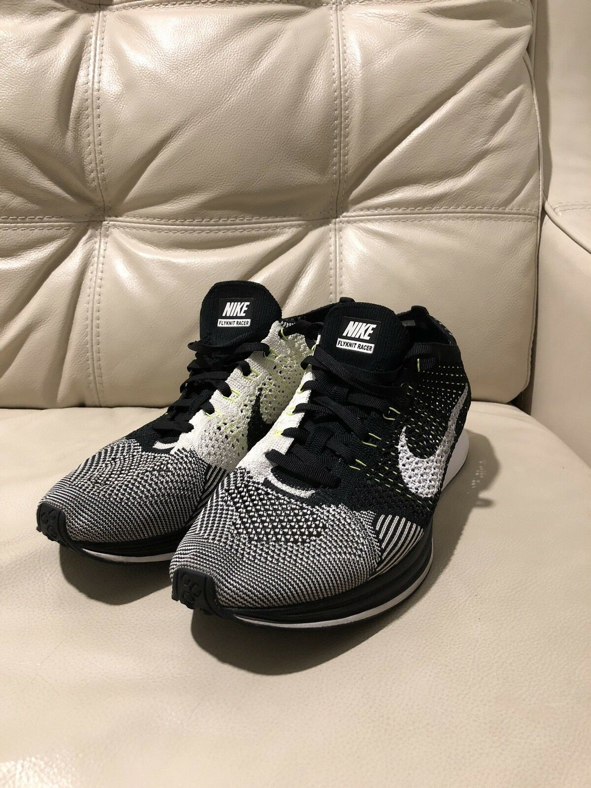 89b439d655 Nike Flyknit Racer BRAND NEW Size 10.5 Mens US, White Black Volt colorway