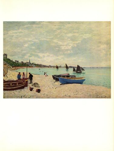 """1960 Vintage MONET /""""THE BEACH AT SAINTE ADRESSE/"""" COLOR offset Lithograph"""