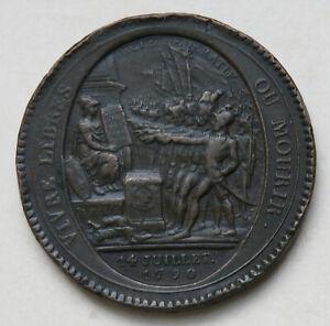 Frankreich-Bronzmedaille-1790-92-im-Gewicht-von-5-Sols-Franzoesische-Revolution