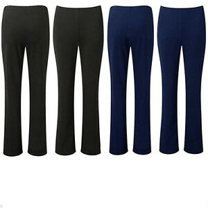 LADIES-PACK-OF-2-BOOTLEG-TROUSERS-WOMEN-STRETCH-SOFT-RIBBED-PULL-ON-SIZE