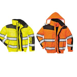 Portwest Men Hi-Vis Classic Bomber Jacket Orange//Black//Yellow Various Size C466