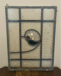 Vintage-Antique-MCM-Reclaimed-Salvage-Stained-Glass-Window-Panel-16-25-x-11-25-034