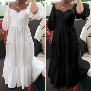 Women-Puff-Sleeve-Sexy-Bridesmaid-Party-Formal-Dresses-Oversized-Long-Maxi-Dress