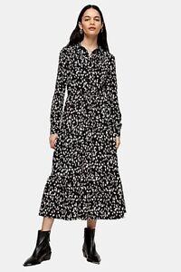 Ex-TOPSHOP-Black-amp-White-Tiered-Midi-Shirt-Dress-UK-12-US-8-EUR-40-TS56-5