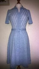 Vintage 70's Blue Shirt Tea Dress - Secretary/Day Wear - 10/12 - Mint
