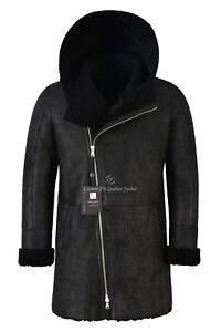 Flying Black Coat Genuine A Fur B3 0 Vintage Men's Shearling Hooded Sheepskin bgvfI7yY6