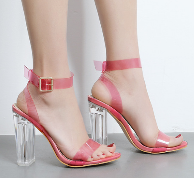 Womens Fashion Peep Toes Casual Block Heel Clear Transparent Open Toes Sandals