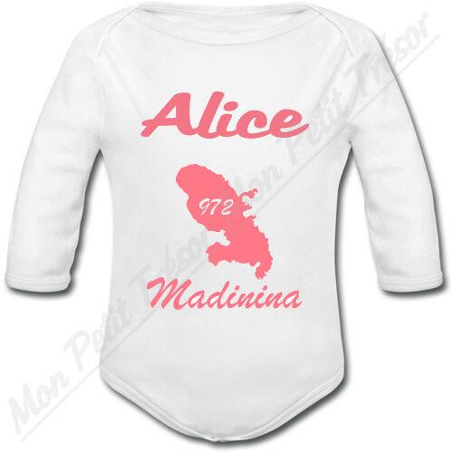 Body Bébé Martinique 972 Rose avec prénom personnalisé Madinina cadeau naissance