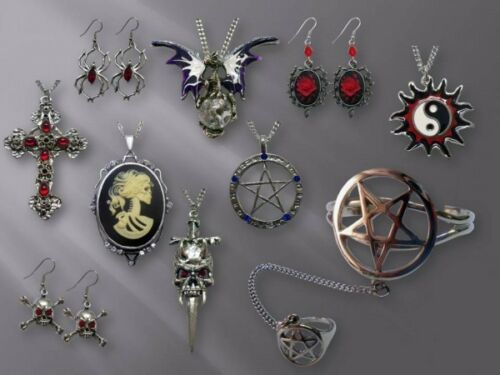 Gothic Vine Wrapped Axe with Skull and Scarlet Stones Pewter Necklace NK-443