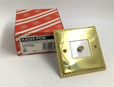 MK GROSVENOR PLUS BRASS F TYPE SATELLITE SOCKET K4325 POB