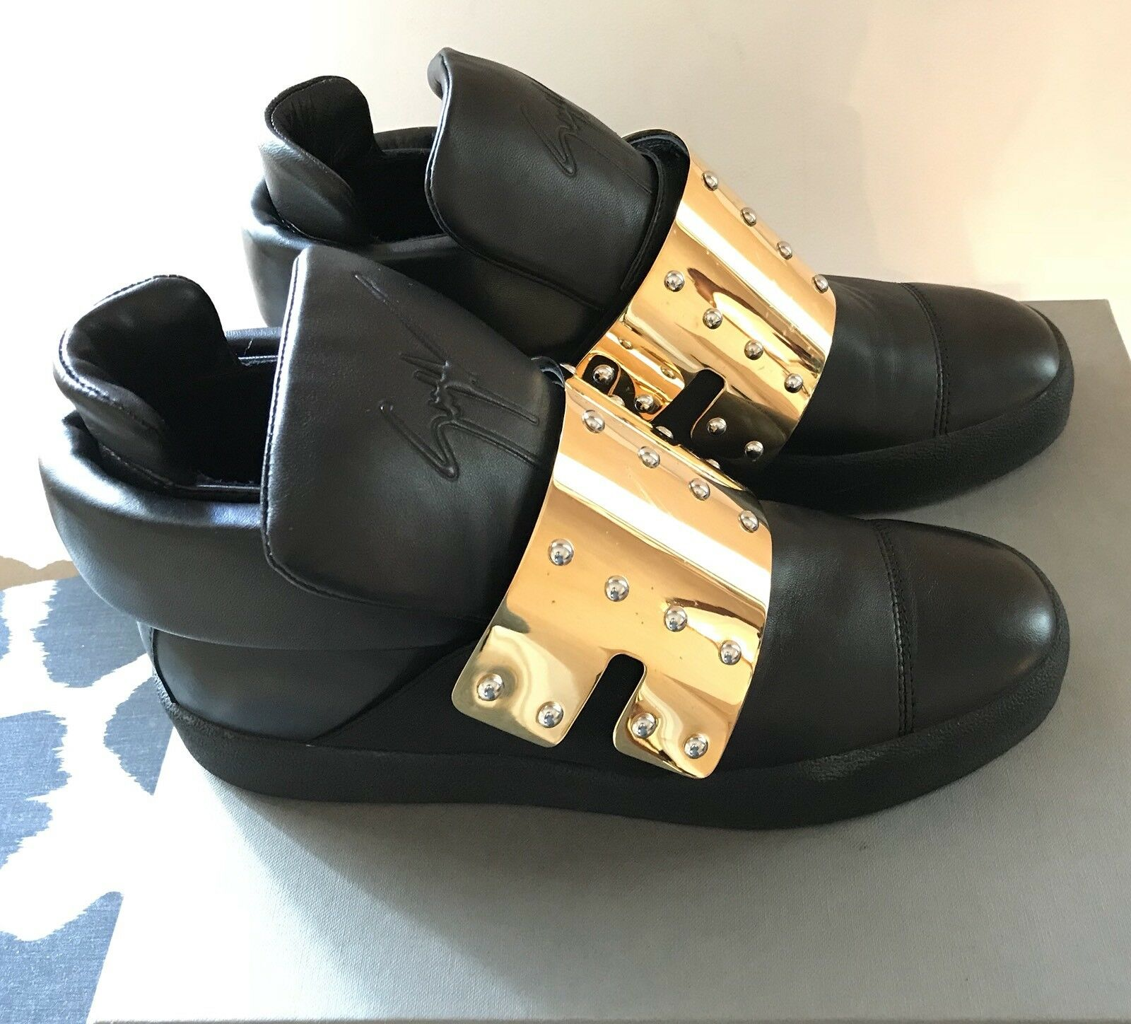Giuseppe Zanotti Hombre's Large trainers Oro plate strap Hi-Top trainers Large  700 52f8d6