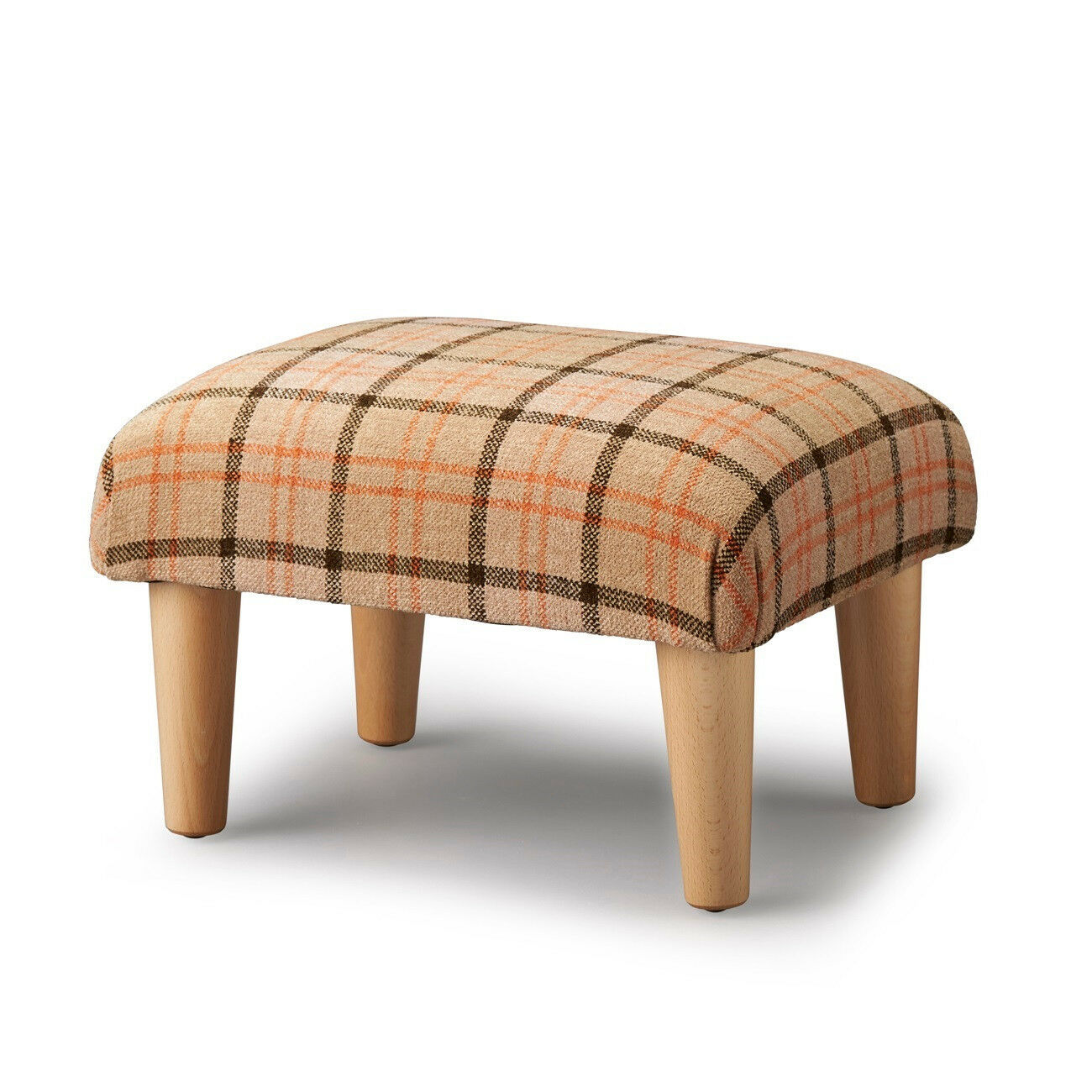 Biagi Upholstery & Design Wheat Orange Chocolate Plaid Tartan Footstool