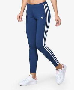 Détails sur ADIDAS ORIGINALS WOMEN'S CLASSIC 3 Stripe Tight Fit Leggings stretch Bleu Blanc afficher le titre d'origine
