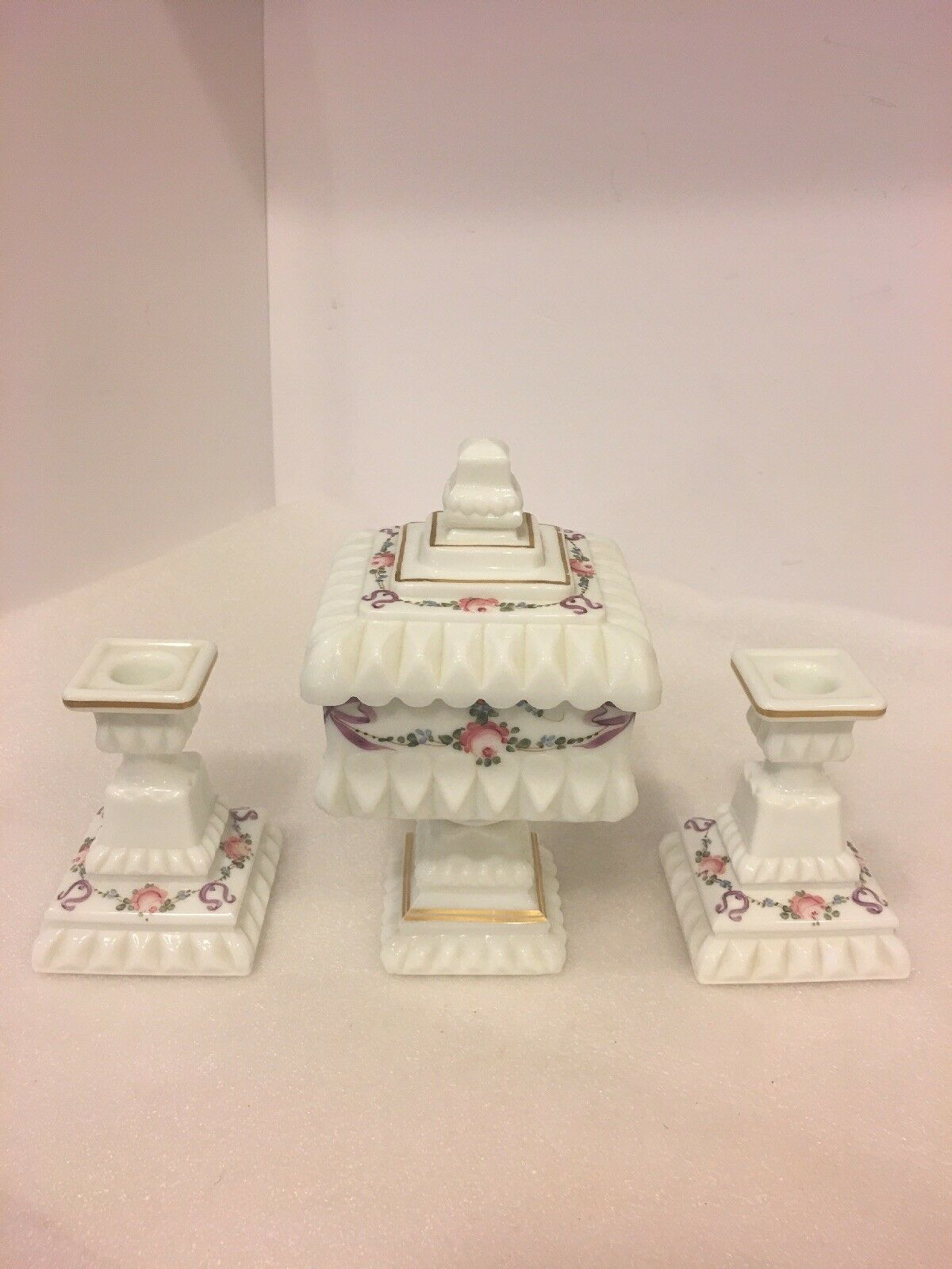 Vtg.Jeannette tablescapes, painted floral candle holders, centerpiece candy dish