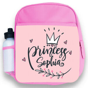 Personalised Kids Backpack Any Name Princess Girl Childrens School Bag 4