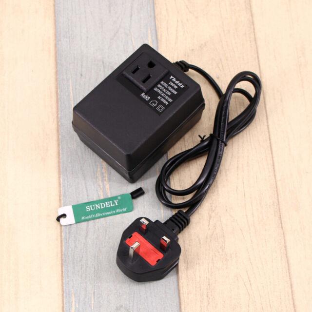Voltage converter AC/AC 200W Black converts 220-240V AC to 110-120V AC UK