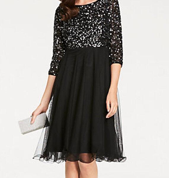 Ashley Brooke Kleid mit Pailletten schwarz, Gr. 42