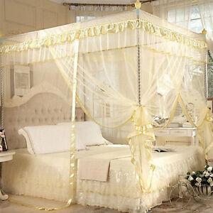moskitonetz betthimmel fliegennetz m ckennetz doppelbett insektennetz gelb netz ebay. Black Bedroom Furniture Sets. Home Design Ideas