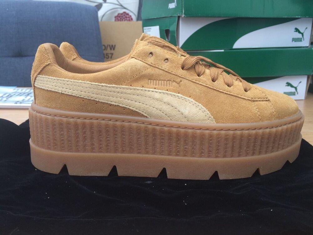 Nouveau AUTHENTIQUE PUMA Fenty verrouillées Creeper Sneaker GOLDEN en Daim Marron Taille 5/38-
