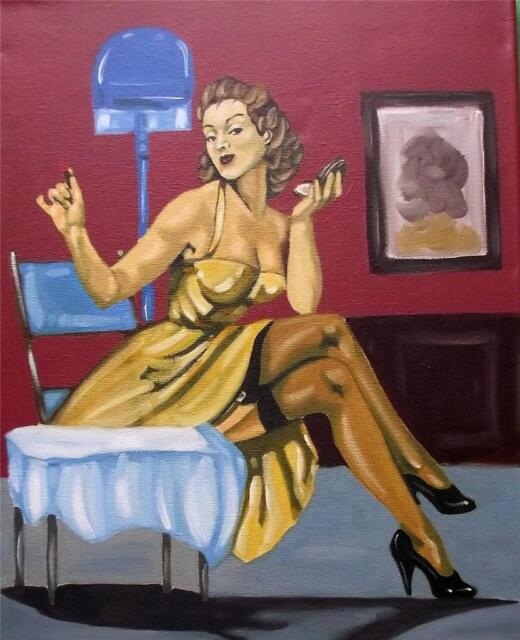 Touch of Lippy  40cm X  30cm Erotic Original Oil Painting by Terry P Wylde