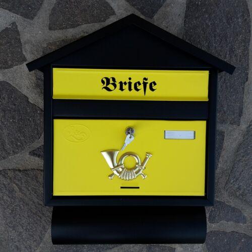 Zeitungsfach Wandmontage Nostalgie XXL Briefkasten Postkasten Schwarz Gelb Matt