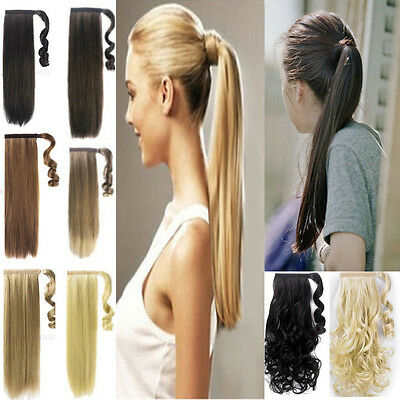 UK wrap around ponytail clip in hair Extensions hair piece natural long ponytail
