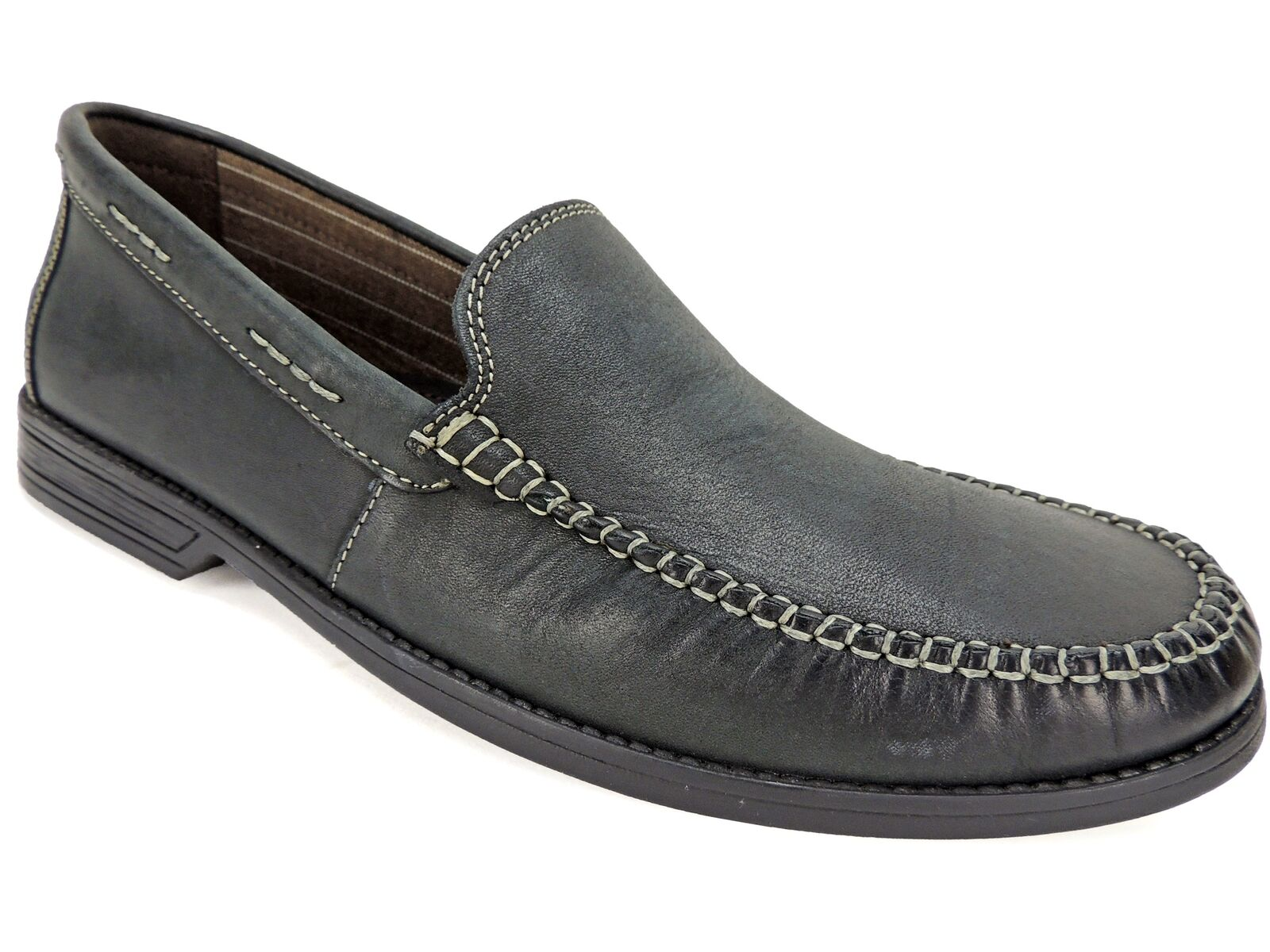 Bostonian Men's Warren Twin Slip-On Loafers Black Leather Size 11 M