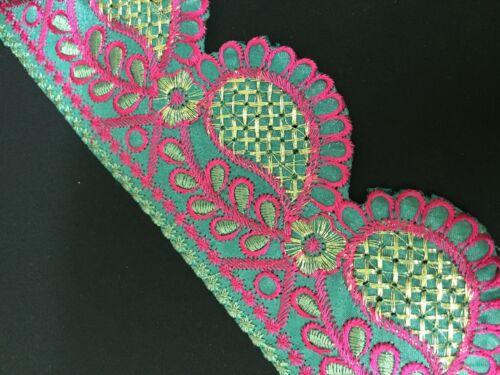 """de encaje floral con bordado de recorte//Paisley X 1 M 2.1//2/"""" 62 mm"""