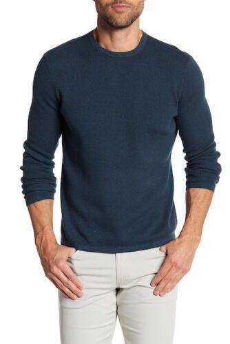 Theory Men/'s Green Savaro Breach Waffle Knit Crew-Neck Pullover Sweater