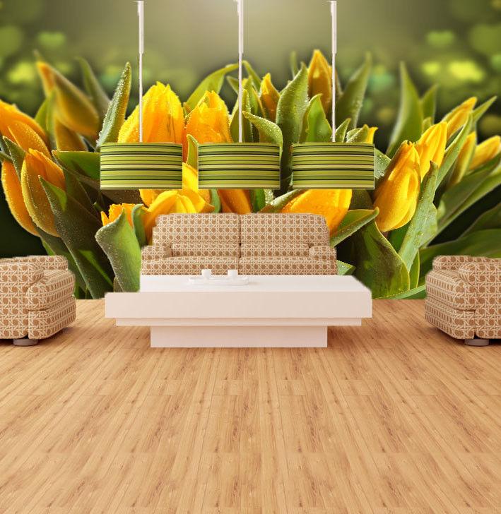 3D goldene Tulpen 832 Tapete Wandgemälde Tapete Tapeten Bild Familie DE Summer