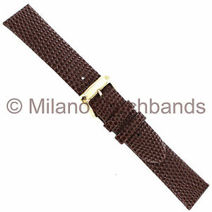 18mm-Speidel-Brown-Lizard-Grain-Genuine-Leather-Unstitched-Mens-Watch-Band-Long