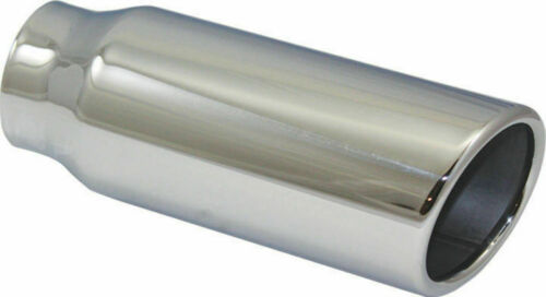 """Stainless Steel Rolled Edge Angle Exhaust Tip 2.25/"""" Inlet 3/"""" Outlet 8/"""" Long"""