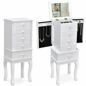 Free Standing Jewelry Cabinet Armoire Storage Chest Stand ...
