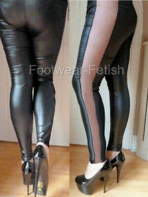 New Goth Rock Black Leather Wet Look Mesh Side /& Center Panels Leggings 6-12 UK