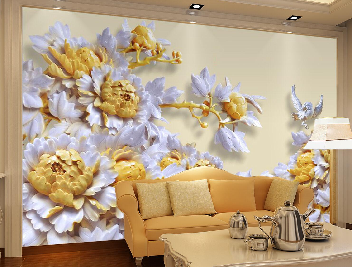 3D Jade Gelb Flowers 884 Wallpaper Mural Paper Wall Print Wallpaper Murals UK