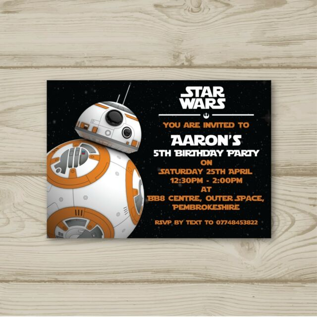 10 Personalised Birthday Party Invitations Star Wars BB8 Free Envelopes