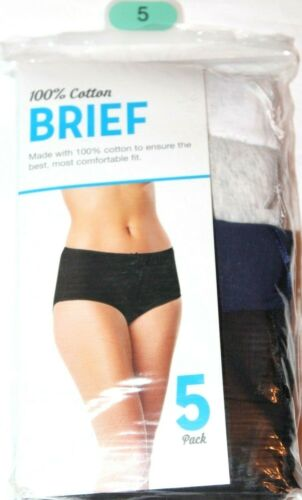 Brief 100/% Cotton Women/'s 5-Pack Asstd Panties Underwear  Sz 5 Small 4-6