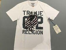 TRUE RELIGION MEN T-SHIRT 02 EAGLE FLAG CREW NK WHITE PREMIUM QUALITY NWT L $68