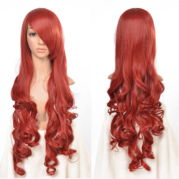 Red Long Wavy Curly Cosplay Full Wig Fashion 33 inch High Temp Wigs for Women