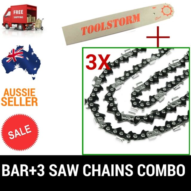 "12"" BAR & 3 CHAINS COMBO 3/8""LP 050 44DL FOR CHAINSAW FIT BAUMR-AG ECHO ETC"