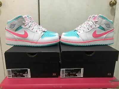 Nike Air Jordan 1 Mid Gs White Digital Pink Aurora Green Sizes 5 5