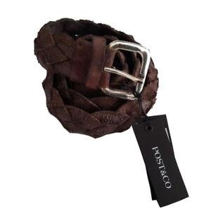 POST&CO cinturón hombre trenzado marrón oscuro 100% cuero usuario MADE IN ITALY