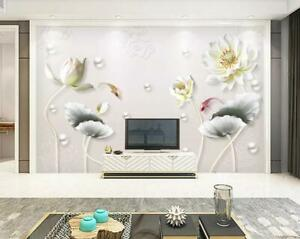 Details about  /3D Vintage Lotus I1081 Wallpaper Mural Sefl-adhesive Removable Sticker Wendy