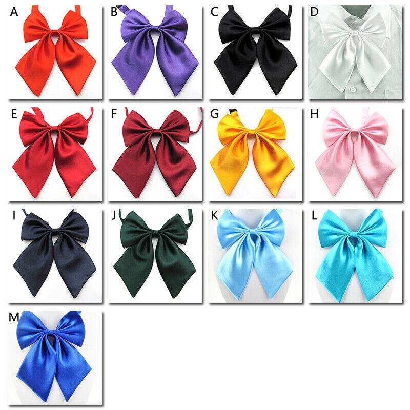 Silk Soild Color Bowknot Bow Tie Collar Pins Women Men Cravat Suit Accessories A