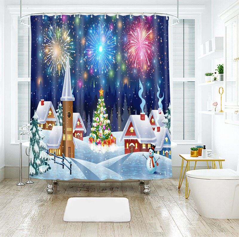 3D Christmas Xmas 00 Shower Curtain Waterproof Fiber Bathroom Home Window Toilet