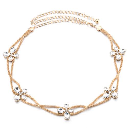 Gold Damen Gürtel Taille Kette Diamante Brautkleid Schmuck Bling