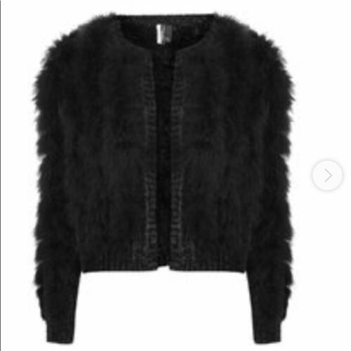 Topshop Chenille Marabou Feather Cardigan size 8