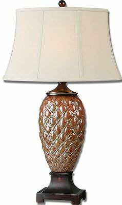 "33"" Horchow Ceramic Table Lamp PINEAPPLE Pinecone Accent Textured"